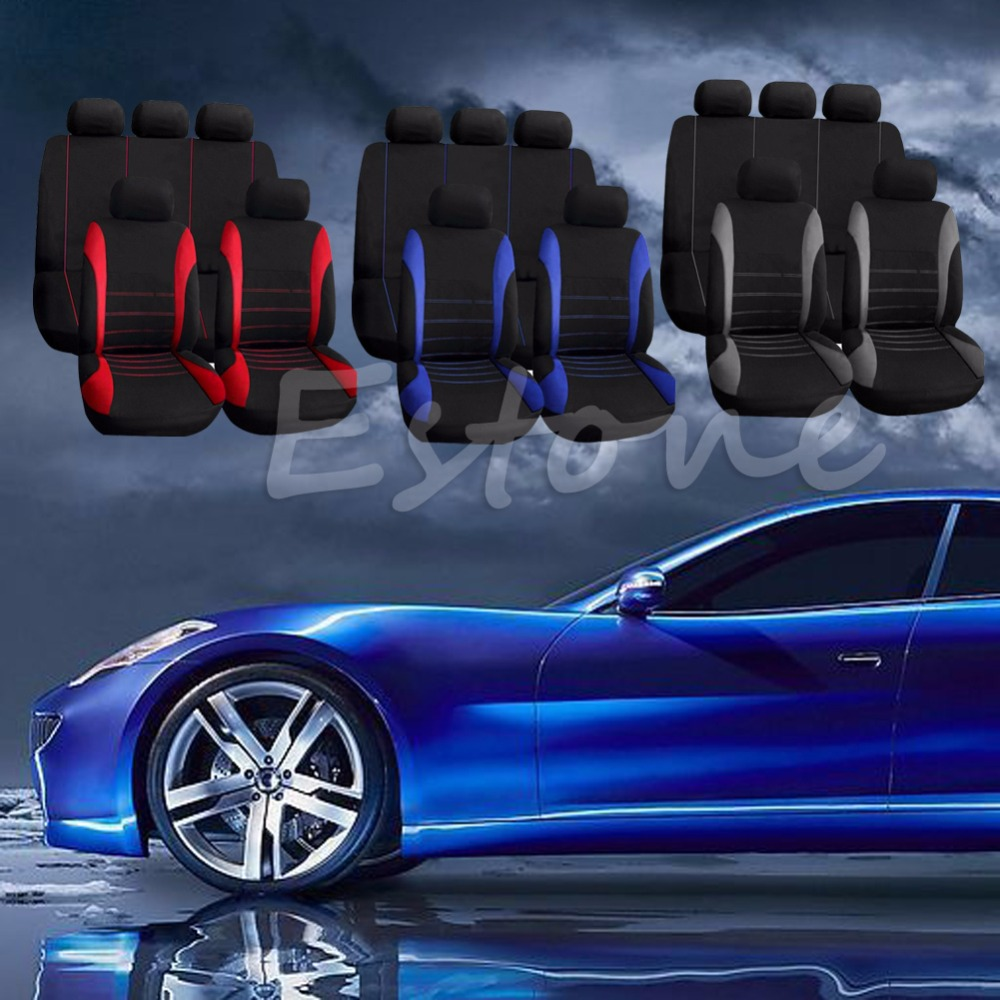 9PCS Universal Car Seat Covers Red Set for Auto w/Steering Wheel/Belt Pad/Head Interior Styling Decoration Protect