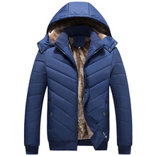 Winter Jacket Men Coat Cotton Hood Removable Parka Men Coat jacket Plus Size L-4XL