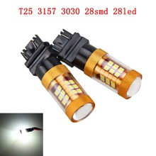 цена на 2PCS X Car T25 3157 3030 28 SMD Brake Tail Stop Light LED Bulbs 3057 3457 4157 3047 12V White