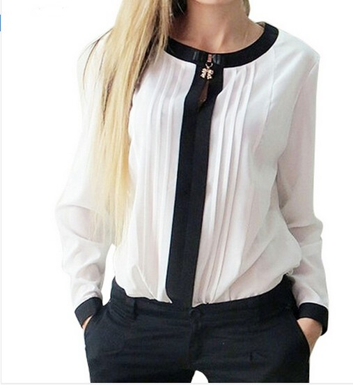 New Women Tops And Blouses New Spring Ladies Chiffon Blouse Shirt Long Sleeve O- Neck Bow Tops
