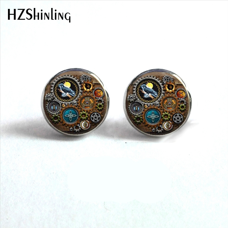 NES-0022 Shadowbox of Stud Earrings Steampunk Inspired Ear Studs Steampunk Jewelry Glass Cabochon Post HZ4 ...