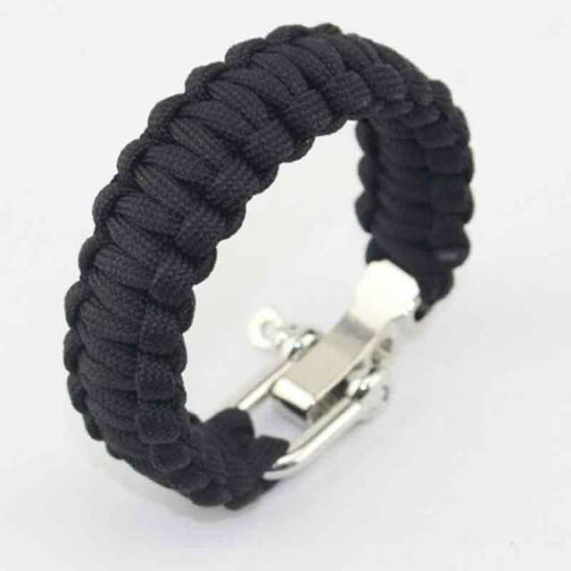 Men's Paracord Survival Bracelet Rope Chain Camping Outdoor Rescue Parachute Cord Buckle Whistle Compass Kits