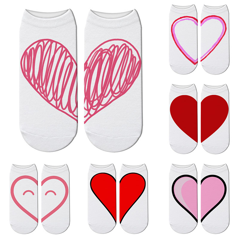 New Kawaii 3D Printed Red Heart Socks Women Pink Heart Pattern Breathable Cotton Socks Lover Ankle-High Casual Funny Socks