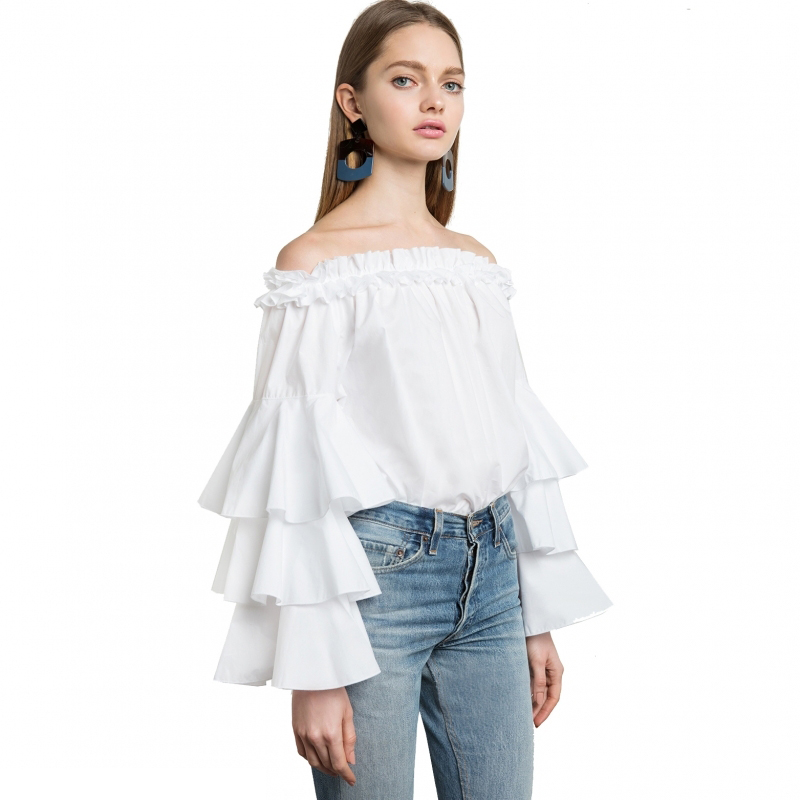 Women Sweet Style Ruffles Slash Neck Layers Butterfly Sleeves Solid Color Matching Cotton Blouse White TA02800096