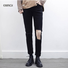 2017 New Knee Big Hole Black Jeans Male Slim Jeans.fashion Casual Denim Pant Punk Hip Hop Style Trousers
