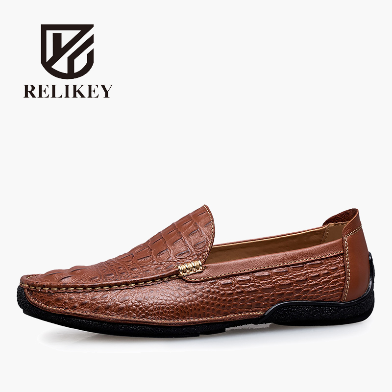 RELIKEY Brand Summer Slip-On Driving Shoes For Men Full Grain Leather High Quality Breathable Moccasins Soft Solid Men Shoes desai brand italian style full grain leather crocodile design men loafers comfortable slip on moccasin driving shoes size 38 43