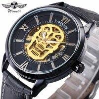 WINNER Latest Cool Golden Men Skeleton Auto Mechanical Watch Leather Strap Golden Skull Heavy Metal Punk