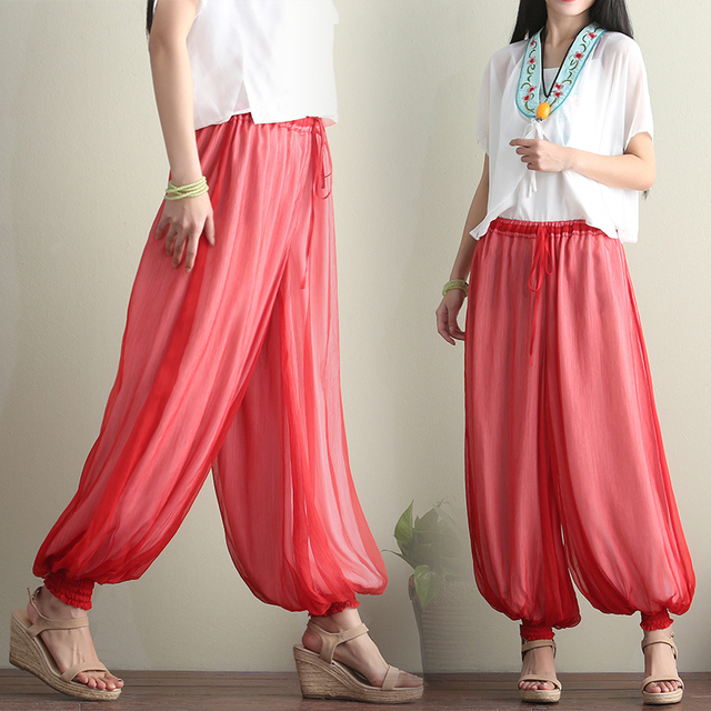 d656d37fa 2018 New Summer Autumn Women's Silk Yogaes Pants Fashion Palazzo Wide Leg Ankle  Bloomers Pants Woman