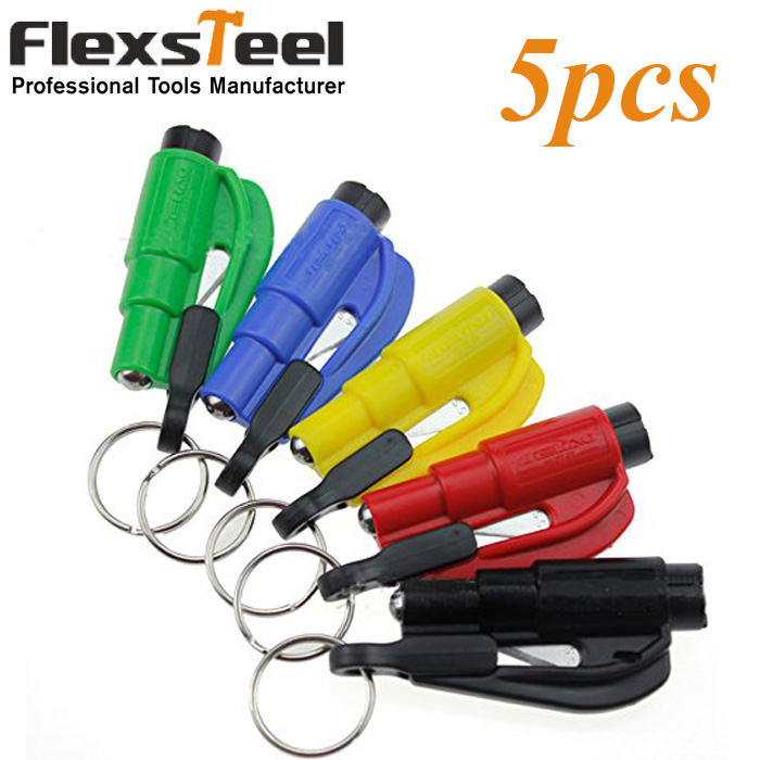 Pocket Auto 5pcs Glass Window Breaking Safety Hammer Emergency Escape Rescue Tool with Keychain Seat Belt Knife Cutter