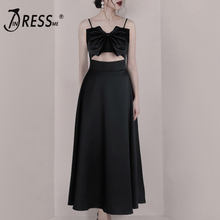 INDRESSME 2019 New Bow Tie Spaghetti Straps Cut Out Maxi Dress Evening Dress Party Women Fashion Loose Bodice two tone cut out maxi dress