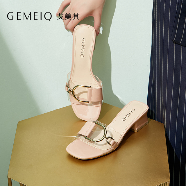 fe974fa086a GEMEIQ 2019 shoes women sandals PU+PVC Jelly Slippers Open Toe High Heels  Women Cool slippers Korean Style