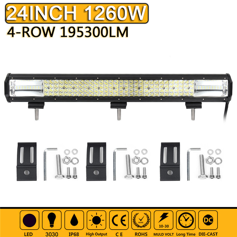 Quad Row 1260W 24 Inch LED Work Light Bar Spot Flood Combo Driving Lamp Car Light Bar Work Light For SUV ATV Boat Truck Offroad лампа светодиодная camelion led6 5 g45 830 е27 6 5вт 220в е27