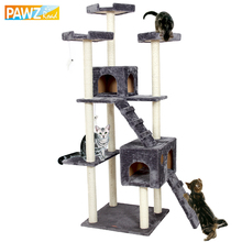 Domestic Delivery H182 Cat Climbing Toys Scratching Solid Wood for Cats Climbing Frame Two Ladder Climbing Plush Pet Toy 3Colors