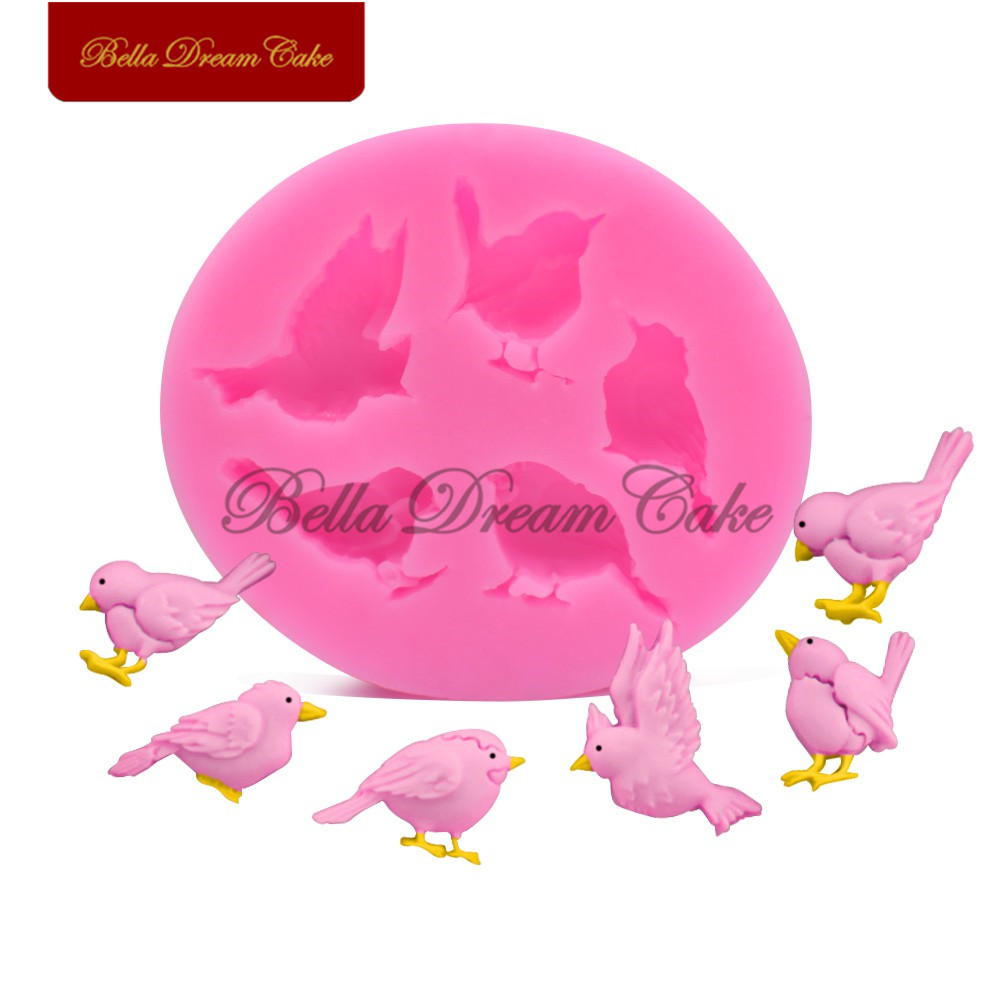 Birds Square Silicone Mold Sugarcraft Fondant Chocolate Mould Bakeware Tool Baking Accessories Cake Decorating Tool