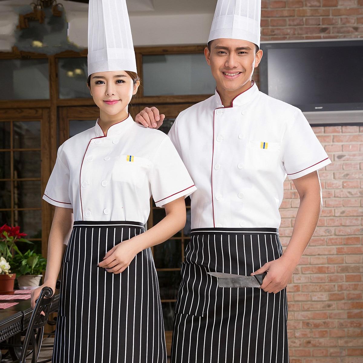 men chefs uniforms short sleeve restaurant chef clothing