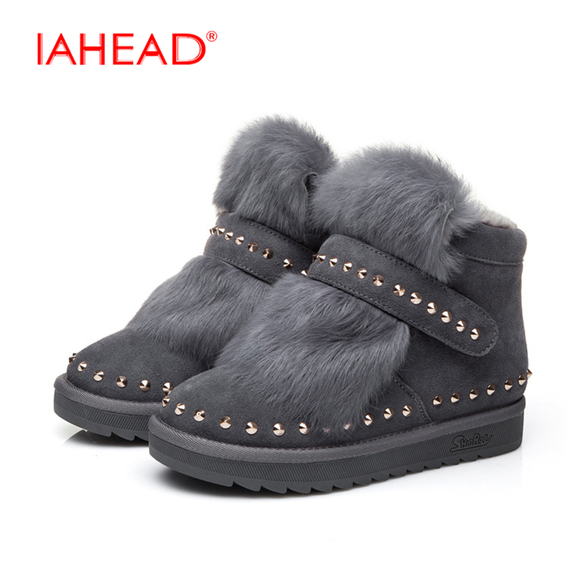 IAHEAD Shoes Winter For Women New Brand Fur Platform Snow Boots Flats Warm Shoes Casual Style chuteira bota UPA371 pu leather martins women boots snow boots military girls for casual walking shoes winter femme bota 2017 7687