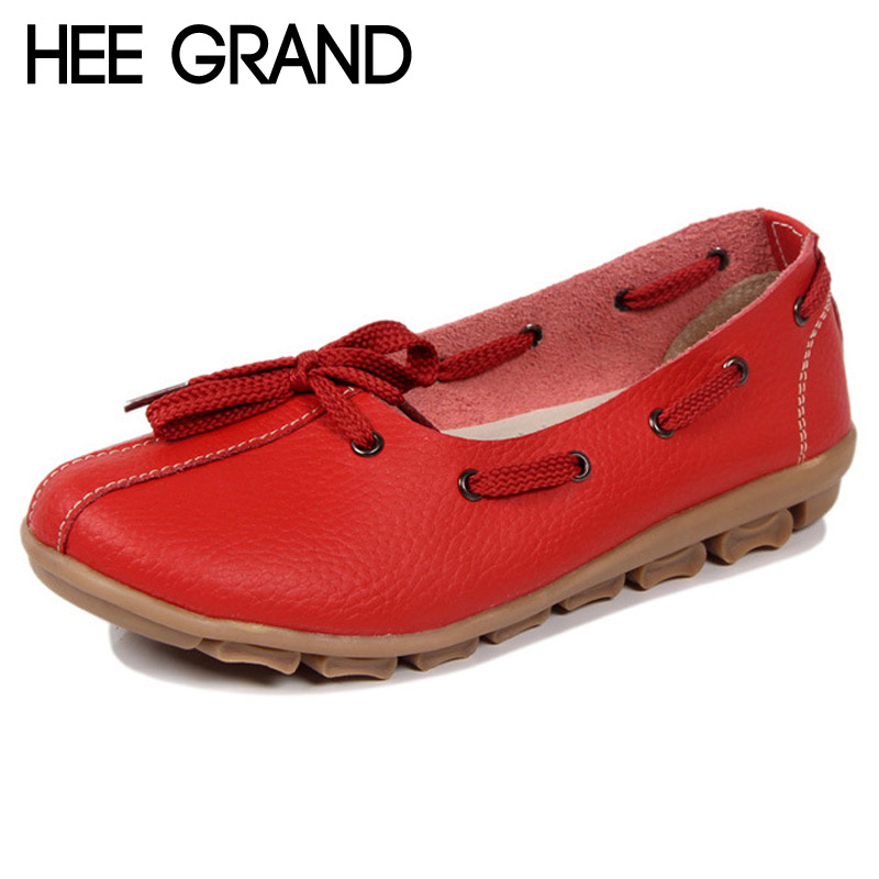 HEE GRAND Split Leather Loafers 2017 Lace-Up Flats Soft Shoes Woman Summer Moccasin Spring Women Shoes Size 35-40 XWD3510