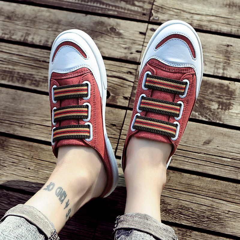Calzado Espadrilles red Casuales Lona Hombres 2018 Zapatillas Verano Masculinos Half Transpirables Zapatos blue Hombre Plana Black De 7wHPaw