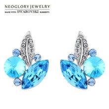 Neoglory австрийский кристалл& Auden стразы серьги-гвоздики элегантный дизайн в виде листьев S925 посеребренные иглы модный стиль для женщин
