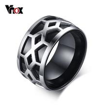Vnox Mens Anillos de Bandas de Acero Inoxidable de 12mm de Ancho Negro Cuadrícula de Diseño de Estilo de La Joyería de Plata Al Por Mayor