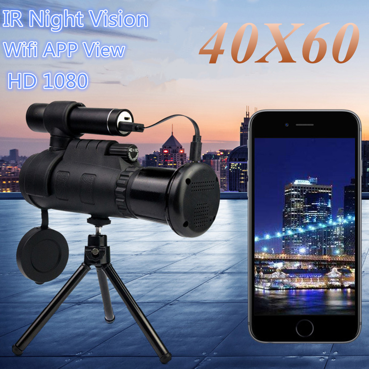 40X60 HD Zoom Optics IR Lens Night Vision Infrared Monocular Binoculars Telescope Phone Holder Tripod for Outdoor Hunting nv400b digital infrared ir night vision large screen binoculars telescope camera video recorder for outdoor sightseeing