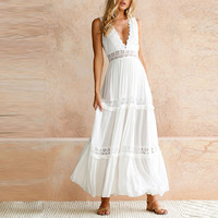 Lily Rosie Girl Sexy Deep V Neck White Lace Dess 2018 Women Elegant Party Long Summer