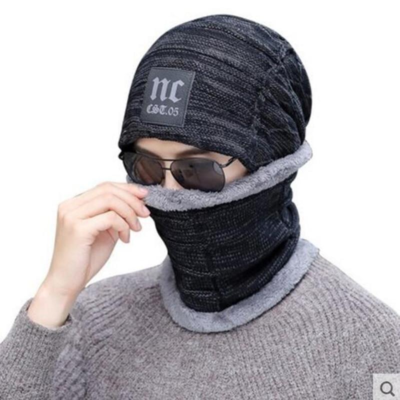 2017 Neck warmer winter hat knit cap scarf cap Winter Hats For men knitted hat men Beanie Knit Hat Skullies Beanies