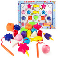 candice guo! colorful plastic stringing beads shapes cognition educational toy child toy 20pcs a set