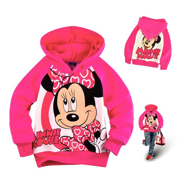 Minnie Fleece Children's Winter Jackets for Girls Hoodies And Sweatshirt Kids Clothes Hooded Long Sleeves Toddler Girl Sweater
