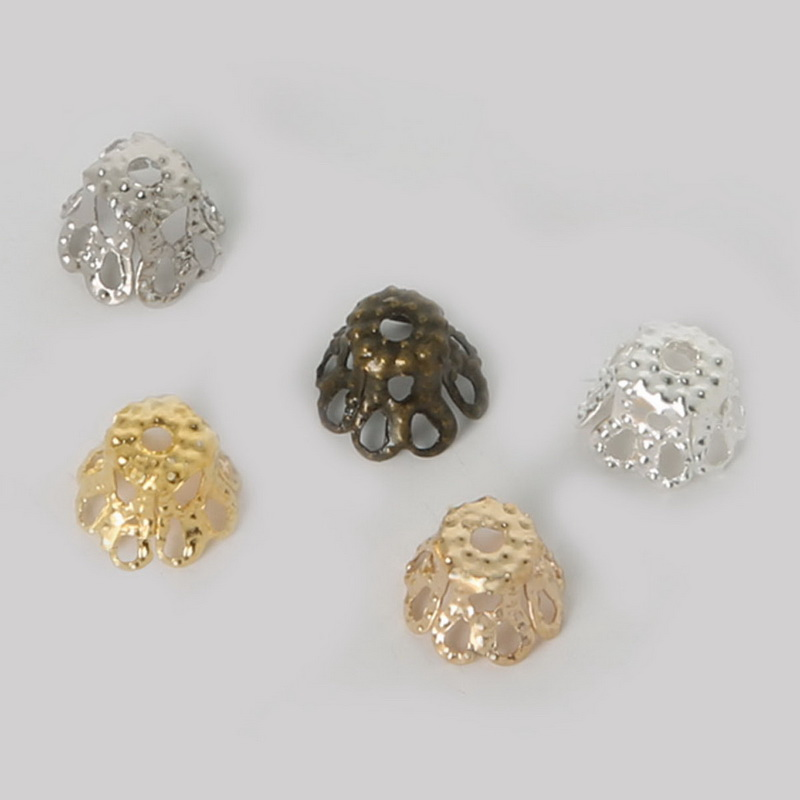 300 Pcs Iron Gold Plated Flower Loose Spacer Bead Cap 8mm Jewelry Findings