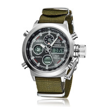 High quality men's nylon double movement digital Military wristwatches 30ATM waterproof unisex silicone army green led watch
