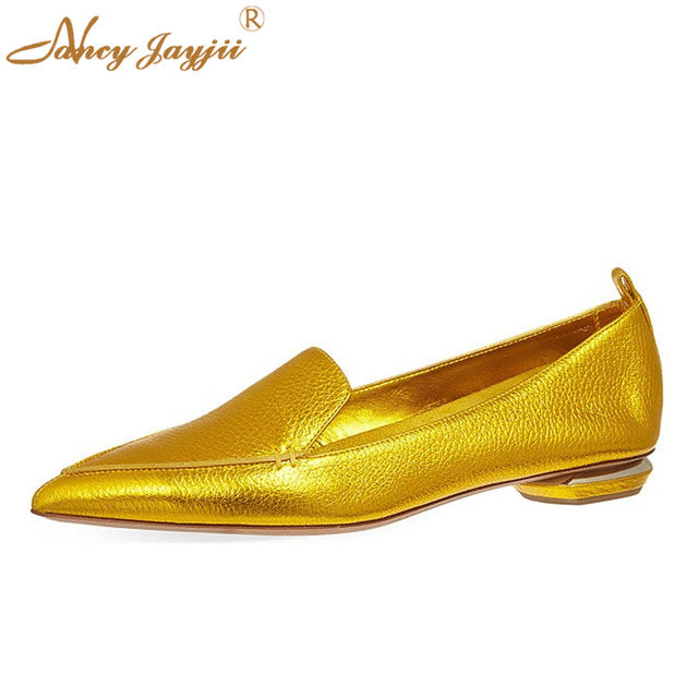 becabf7ee01cd US $79.99 |Blue&Pink&Gold Petent Leather Oval Cut Out Point Toe Comfortable  Ballet Flats Heels Women Casual&Outdoor Shoes Nancyjayjii -in Women's ...