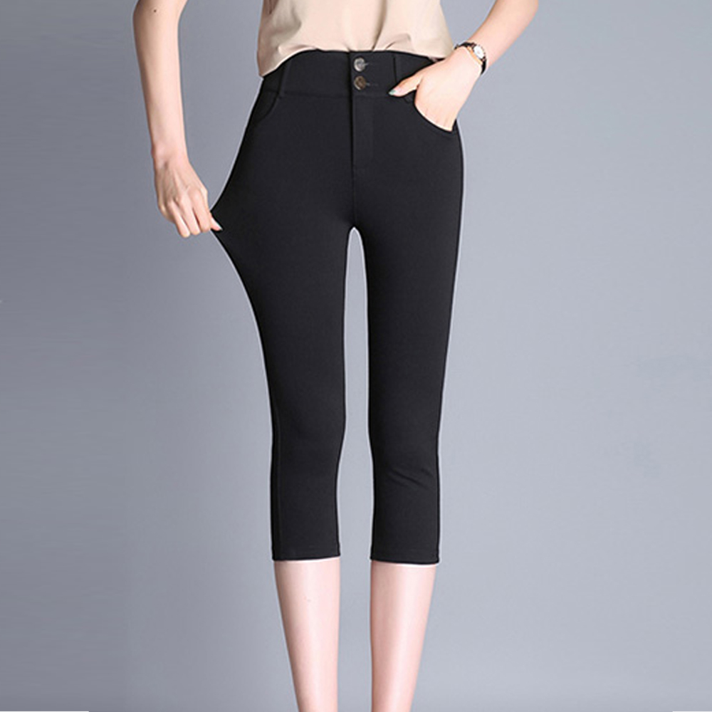 women skinny pencil   pants     capris   summer calf-length   pants   high waist stretch casual   pants   ladies elegant cotton   pants   plus size
