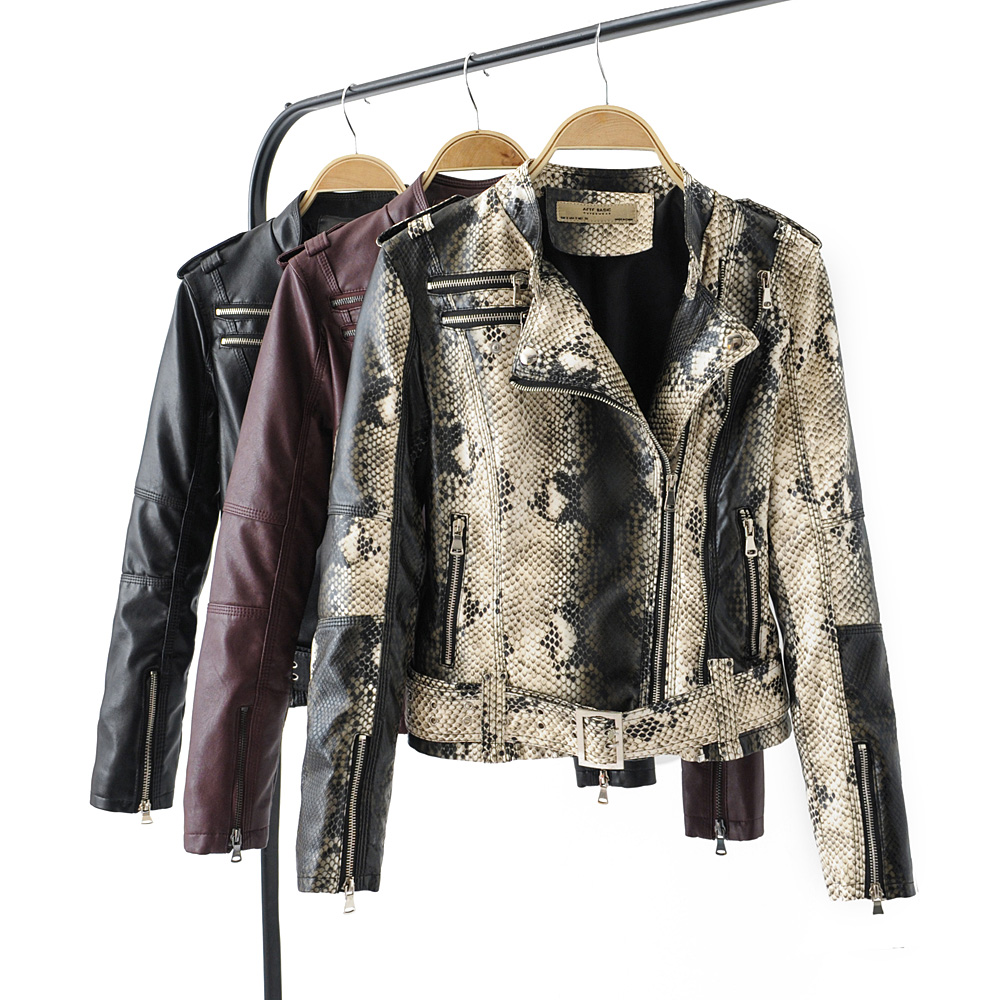 2019 Fashion Women Autumn Winter Faux   Leather   Pu Jackets and Coats Lady Vintage Snakeskin Zippers Belt Wine Red Black Outerwear