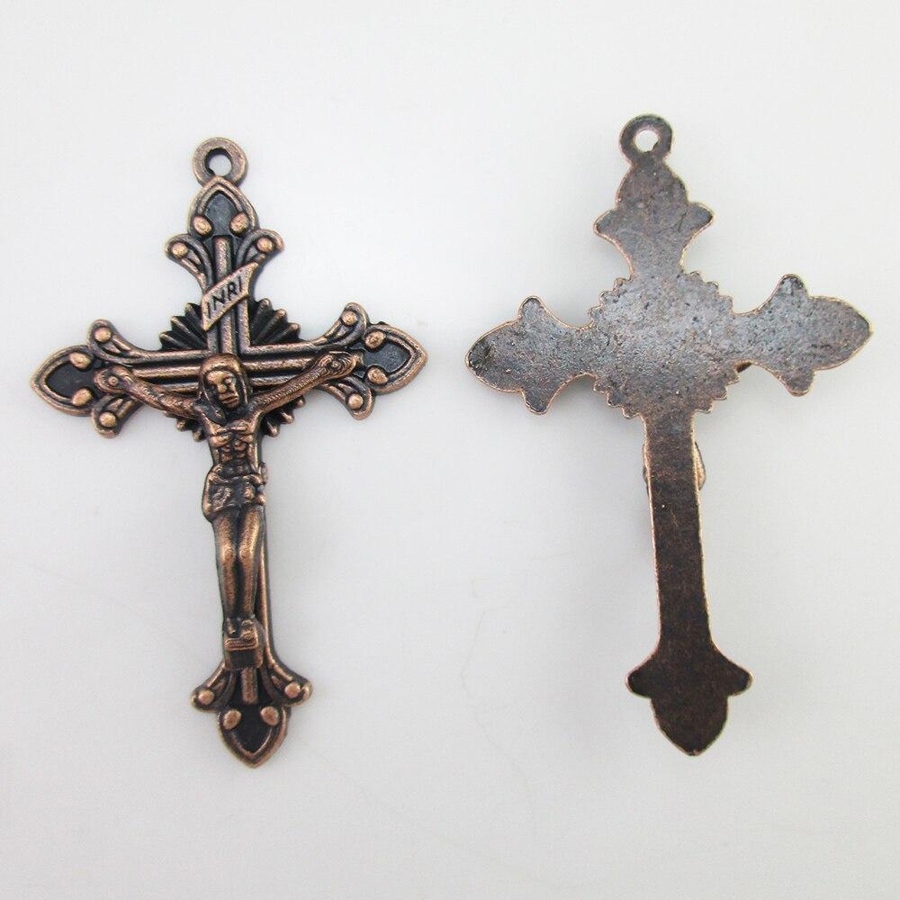 100pcs of 2 Inches Religious Antique Copper Rosary Crucifix Cross Pendant