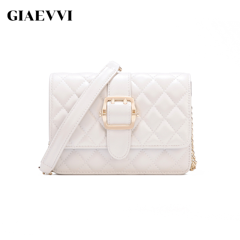 GIAEVVI Genuine Leather Flap Luxury Shoulder Bags Lattice Clutch Women Handbag Small Messenger Bags Crossbody For Girls giaevvi women leather handbag small flap clutch genuine leather shoulder bag diamond lattice for grils chain crossbody bags