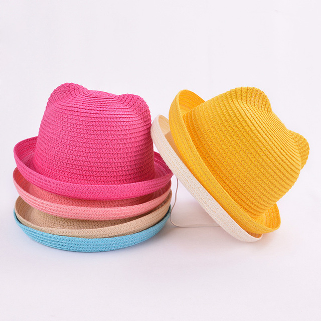 be3d3c13028c4 Fashion Lovely Girls Boys Straw Hats Headdress Summer Baby Sun Hat Cute Ear  Solid Floppy Beach Cap For Children
