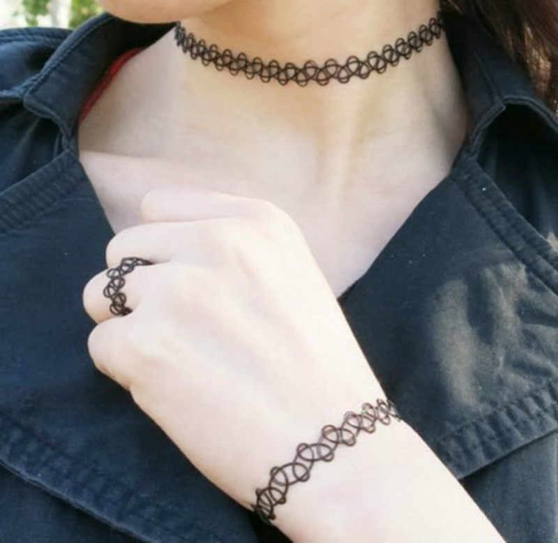 New collares vintage stretch mặt dây vòng cổ cho phụ nữ cô gái charm punk retro gothic elastic tattoo choker dây chuyền