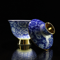 Handmade Chinese Traditional Jingdezhen Blue and White Gold Plated Ceramic Porcelain Gaiwan Kung Fu Tea Set Teacup Wedding Bowl