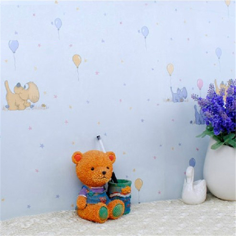 beibehang of wall paper. Fashion Cartoon Dog Kids Wallpaper PVC Children Room Wall Paper Roll White Pink Blue Yellow