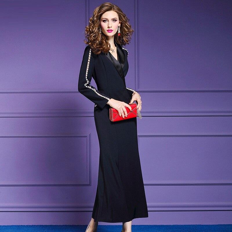 Taille Robes Plus Perles Noir Supérieure Piste 2018 Vintage New Office Robe bleu Cou Longues V Lady Printemps La Hiver Femmes Qualité Designer 6wpqpfT