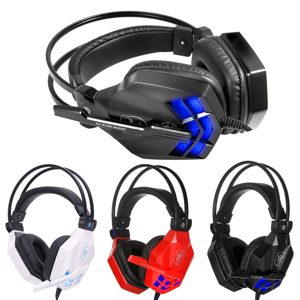 2018 New 2.2m / 7.22ft Surround Stereo Gaming Headset Headband Headphone USB 3.5mm LED with Mic for PC Deep Bass for Real Game