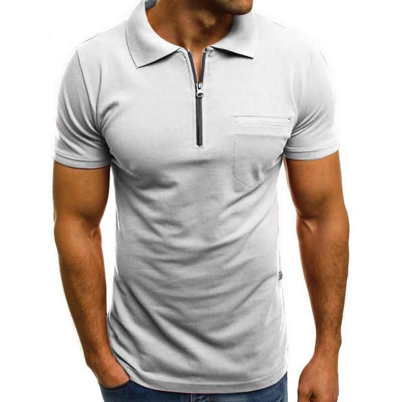 Laamei 2020 남성 폴로 셔츠 뉴 여름 패션 캐주얼 단색 옷깃 지퍼 셔츠 남성용 반팔 스포츠 폴로 셔츠
