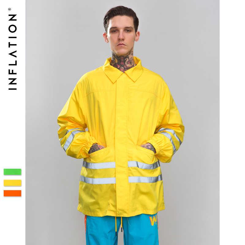 インフレ Reflctive ストライプ手紙ジャケット 2019 ファッションスタイル蛍光カラーヒップホップストリート男性/女性ジャケット 8758 ワット