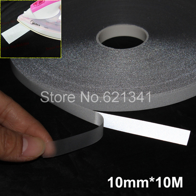 10mm 10m Silver Reflective Fabric Tape Heat Transfer Film Iron On
