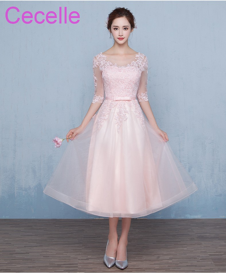 Pink Tulle Lace Short Modest   Bridesmaid     Dresses   With Half Sleeves A-line Tea Length Country Western Wedding Party   Dress   Cheap