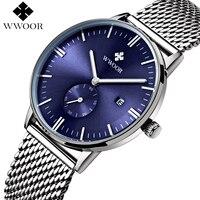 Men Watches Top Brand WWOOR Date Clock Male Waterproof Quartz Watch Men Silver Steel Mesh Strap