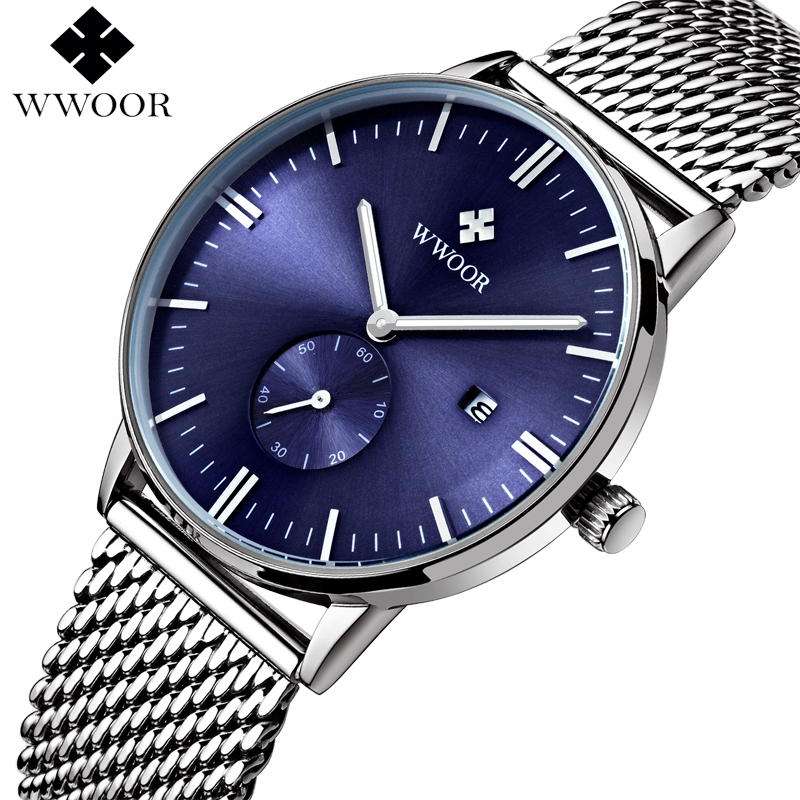 все цены на WWOOR Watch Men Quartz Stainless Steel Mesh Band Date Clock Mens Watches Top Brand Luxury Waterproof Sport Wrist Watch Male Blue