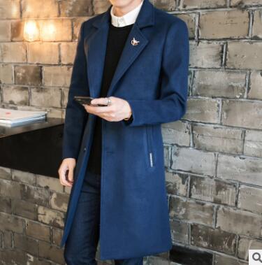 Длинный стиль Корейский плюс хлопок и толстое шерстяное пальто для мужчин в осенне зимний qz 175