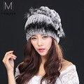 Mulheres de pele do inverno chapéu da forma natural rex pele de coelho com raposa chapéus de pele quente 2016 nova Russo qualidade fêmea tampas quentes